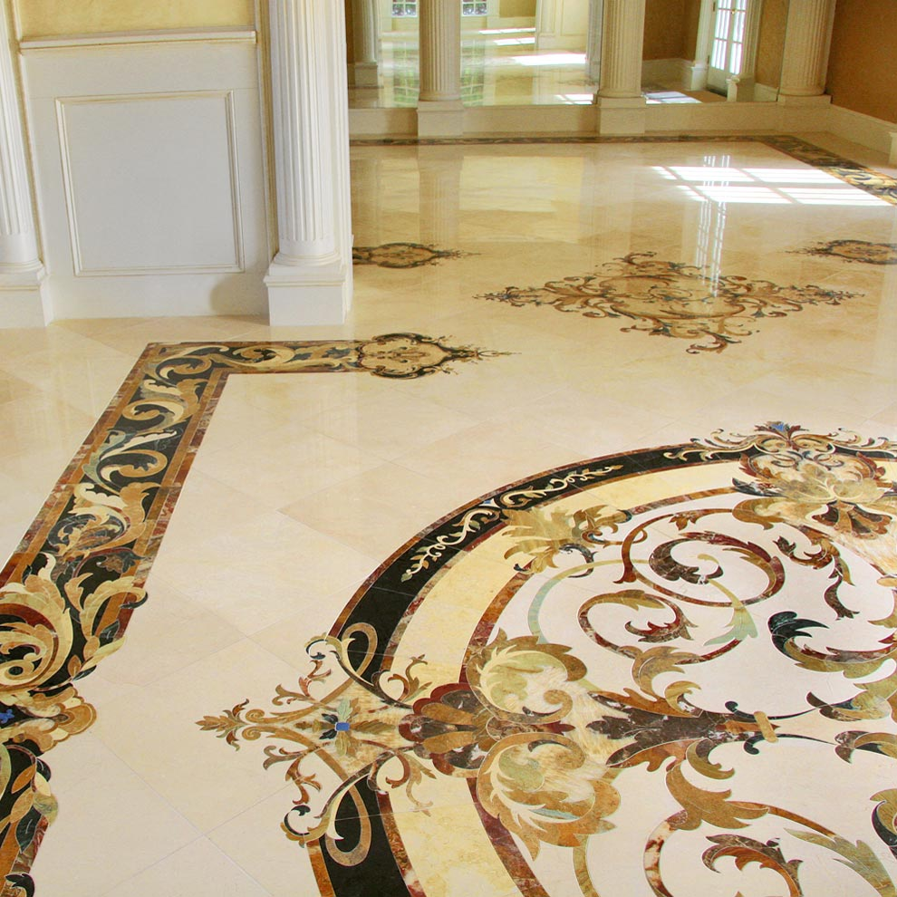 marble medallion borders and accents whole floor design from capri collection