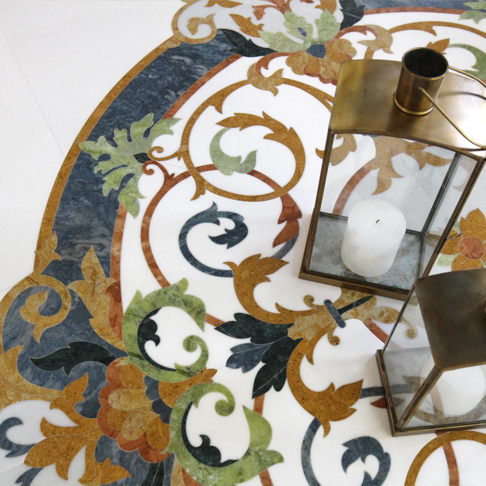 medium blue quartzite marble inlay floor or wall medallion from the chateau collection