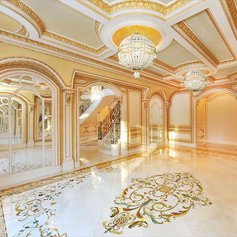 french style marble inlay floor design