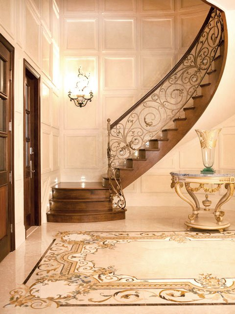 classical marble foyer inlay floor from provincial collection