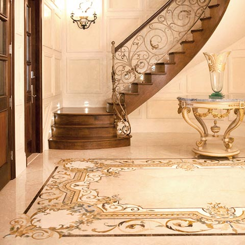 classical patterned marble flooring