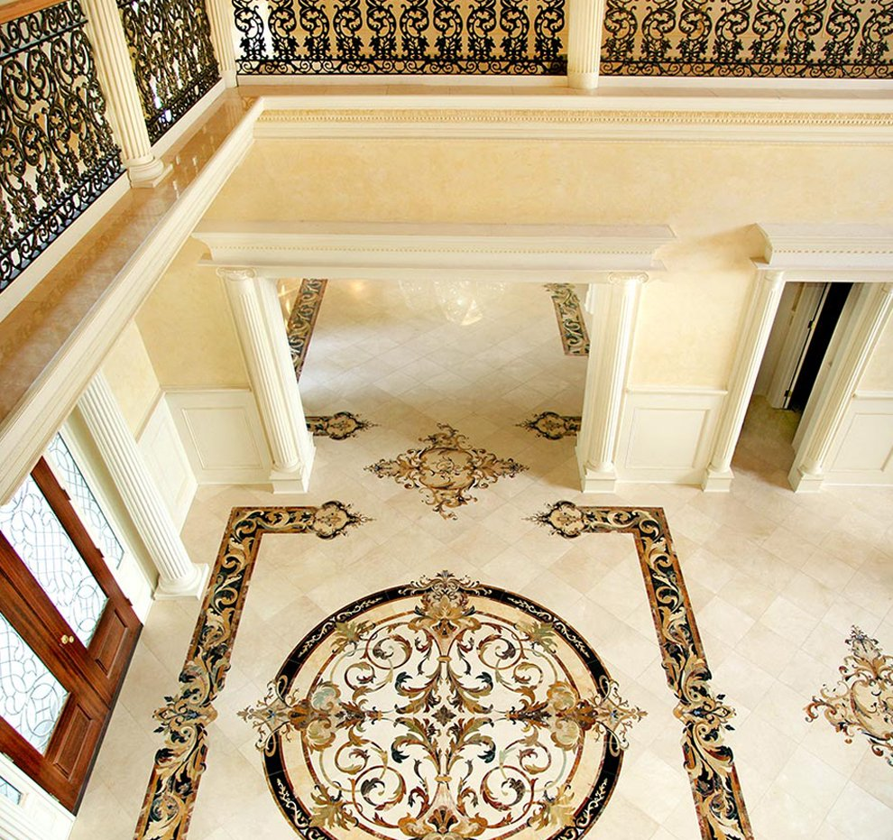 marble medallion and border in entryway