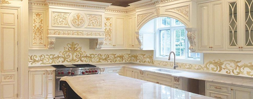 custom marble inlay backsplash