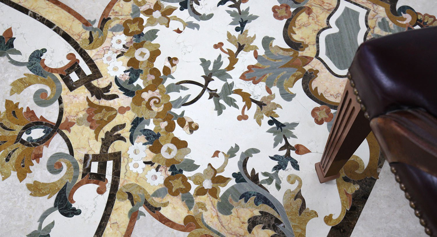 detailed floral marble mosaic design detail from venetian collection