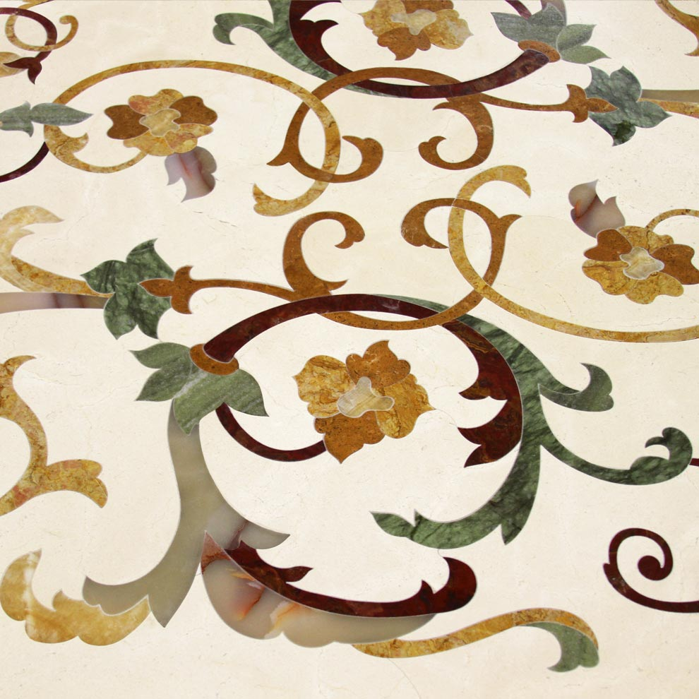 vines and flowers marble inlay design form the fiore colletion