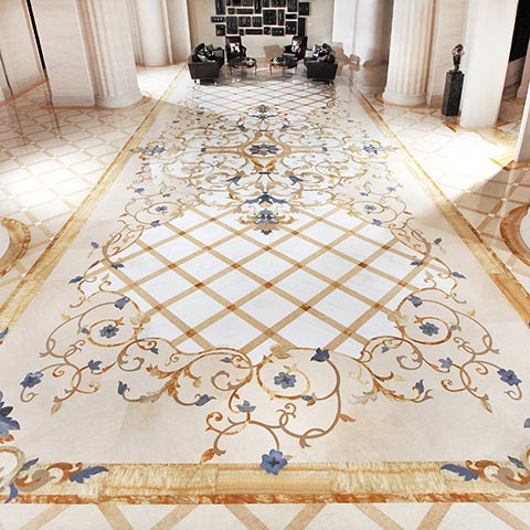 marble inlay design for high-rise lobby