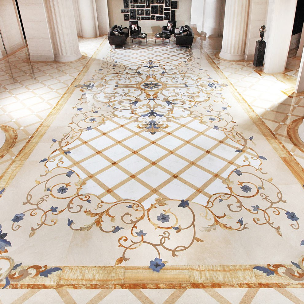 gold and blue marble inlay lobby design