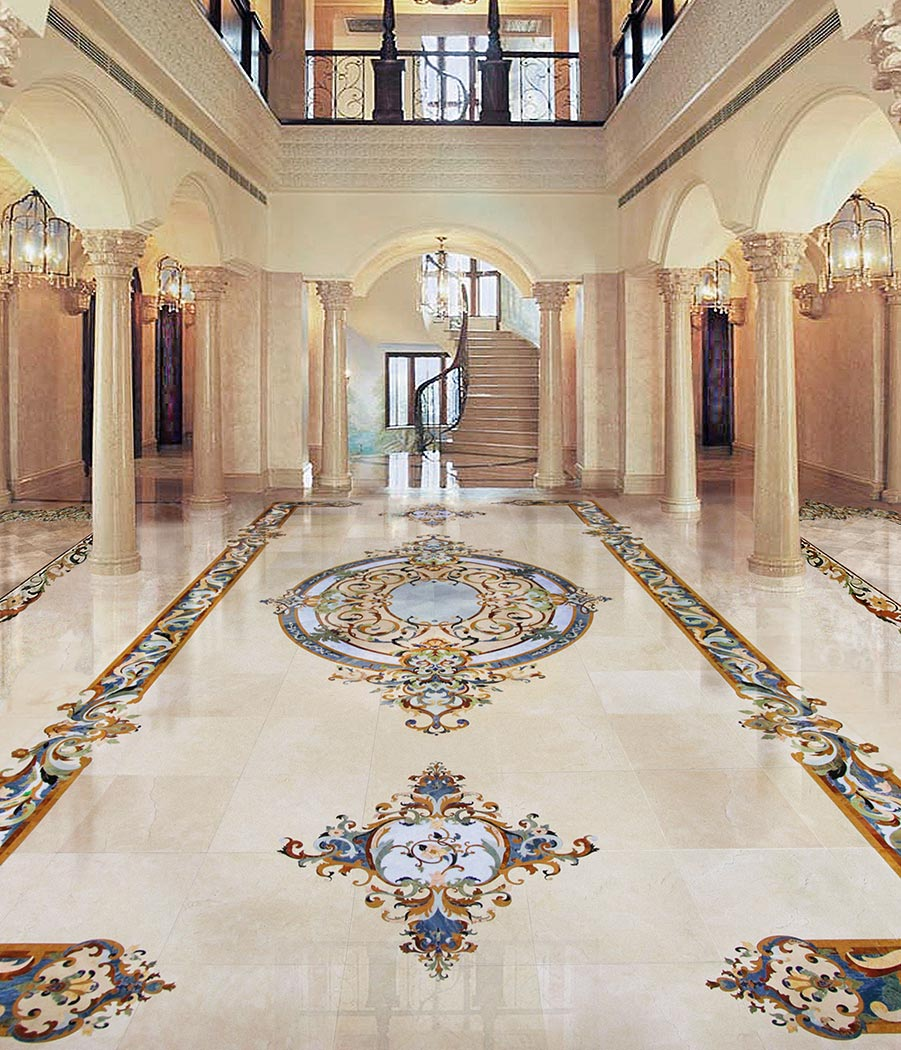 grand foyer blue marble inlay luxury floor design from chateau collection