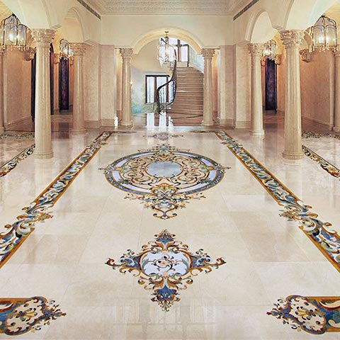 grand foyer marble luxury mosaic floor from chateau collection
