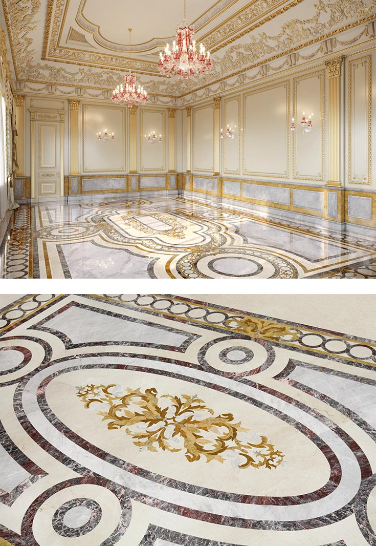 grand luxe luxury marble mosaic floor combo