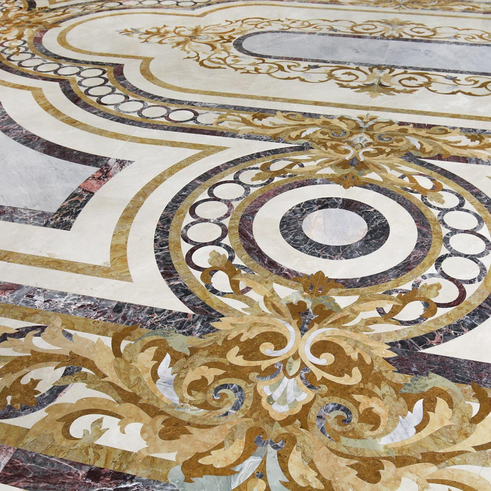 circle border classical marble floor design