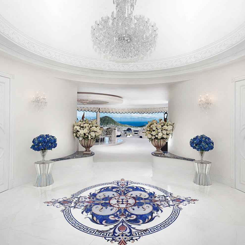lapis thassos luxury marble floor medallion