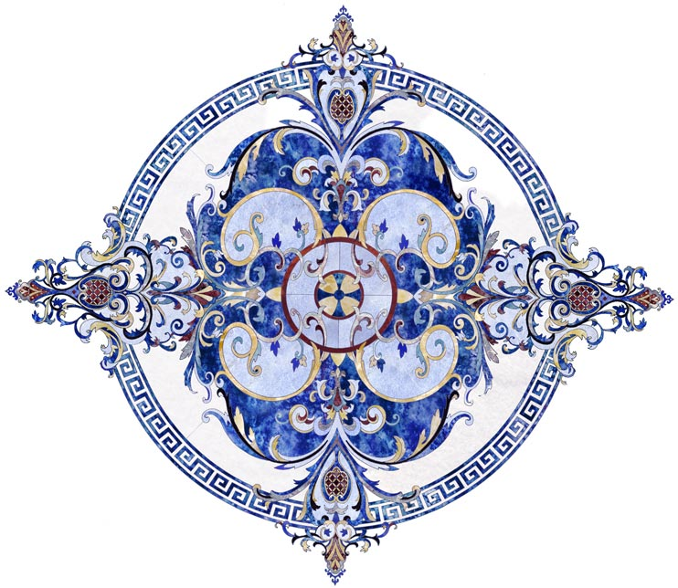 blue lapis marble floor medallion