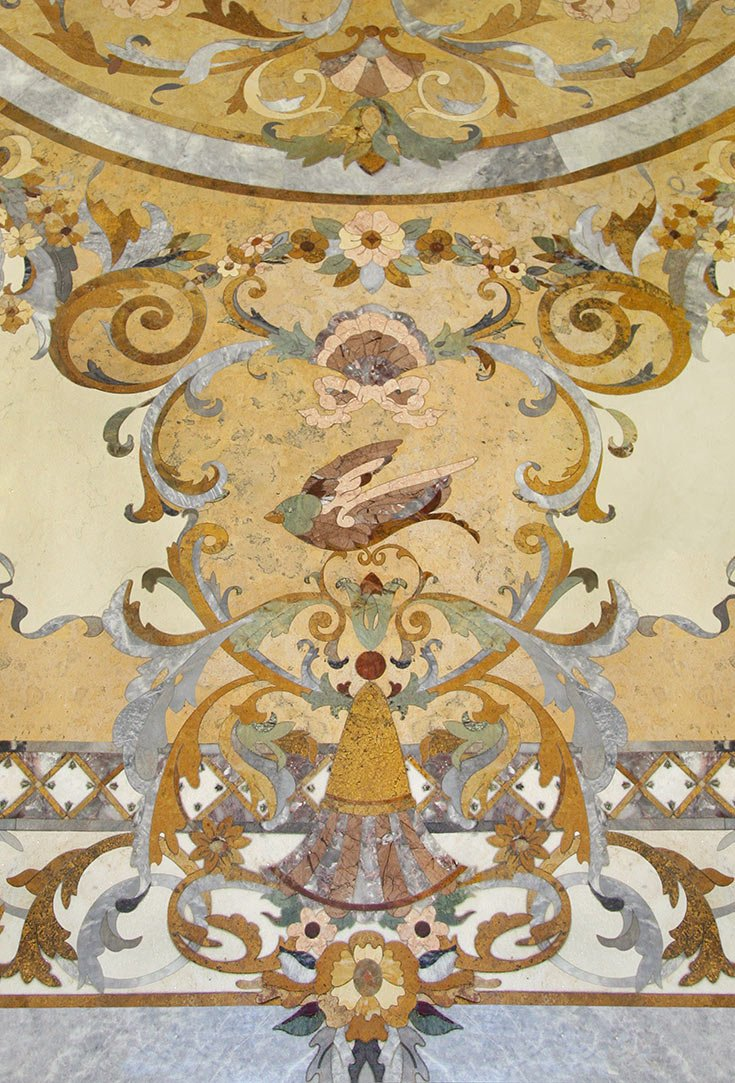 inlaid marble flora bird border detail