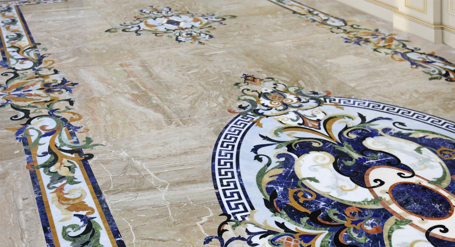 sodalite luxury marble inlay floor medallion design from imperial collection