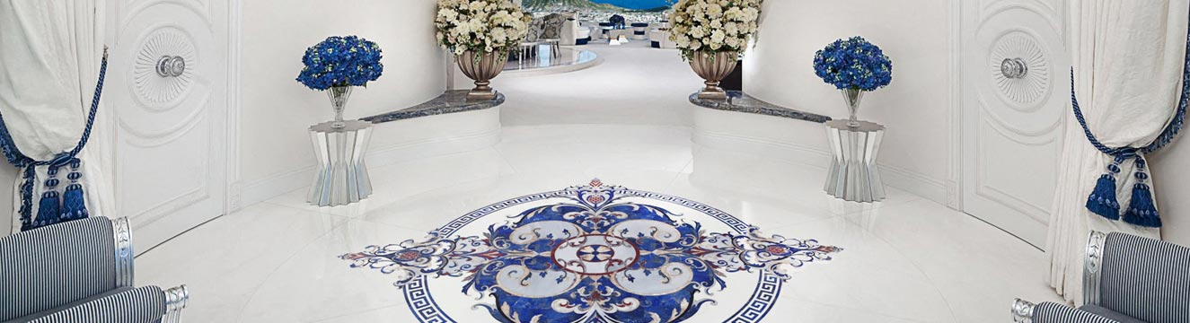 blue marble floor design