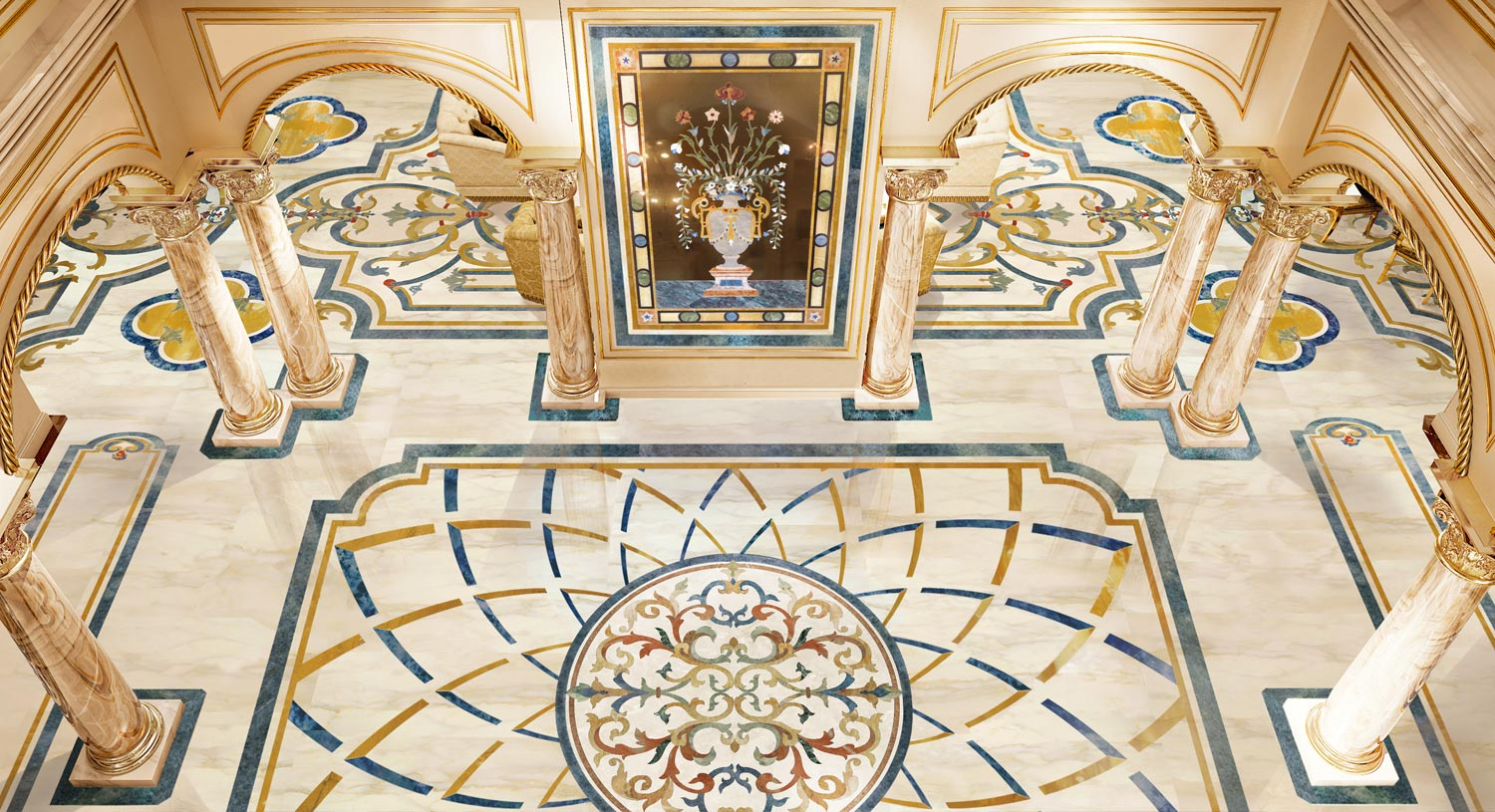 luxury marble inlay foyer floor design from the milan collection