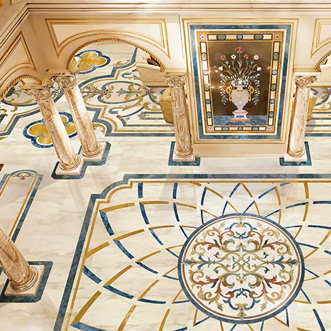 calacatta sodalite marble floor from Riviera collection