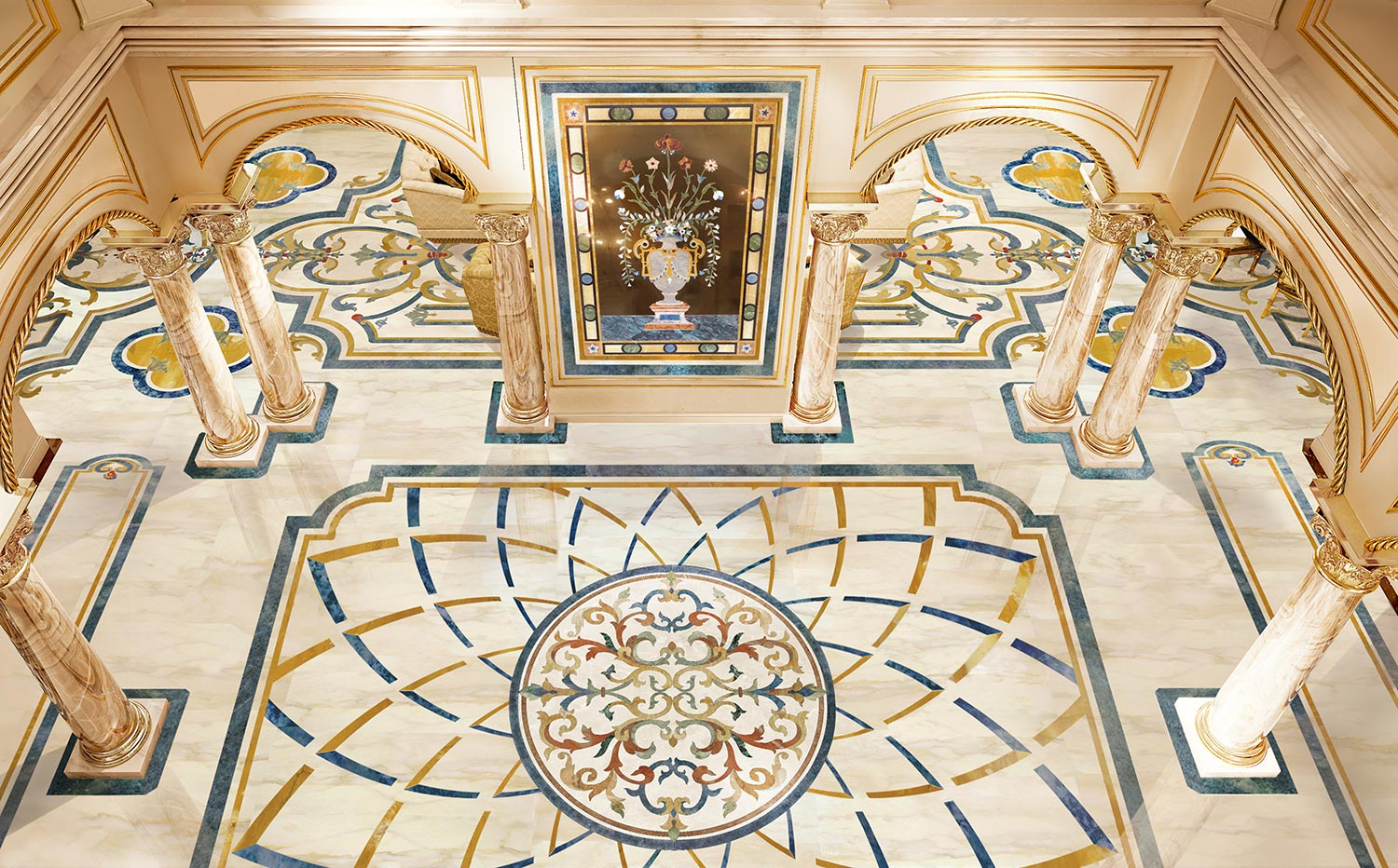 marble inlay floor design luxury residence from milan collection