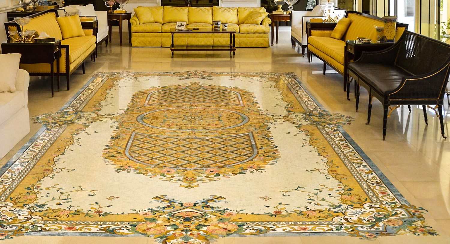 luxury marble inlay floor design