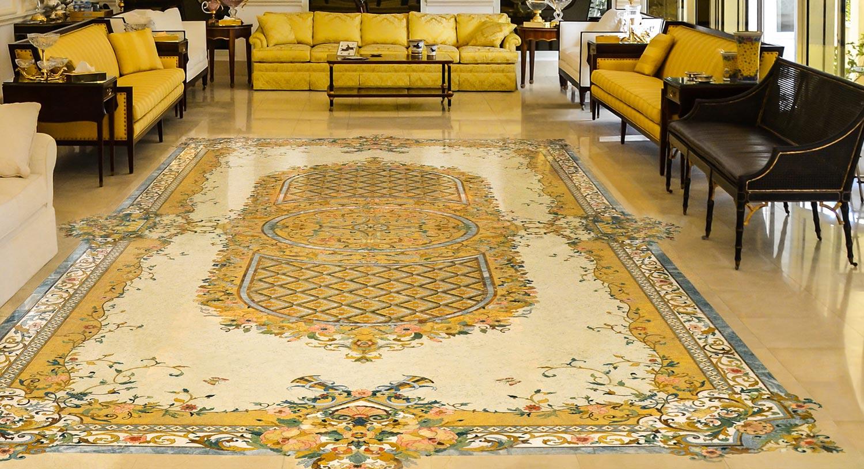 luxury marble inlay floor design