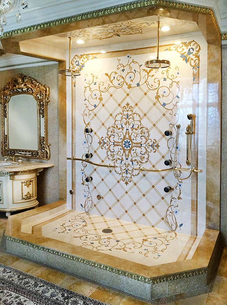 marble inlay steam shower design from riviera collection