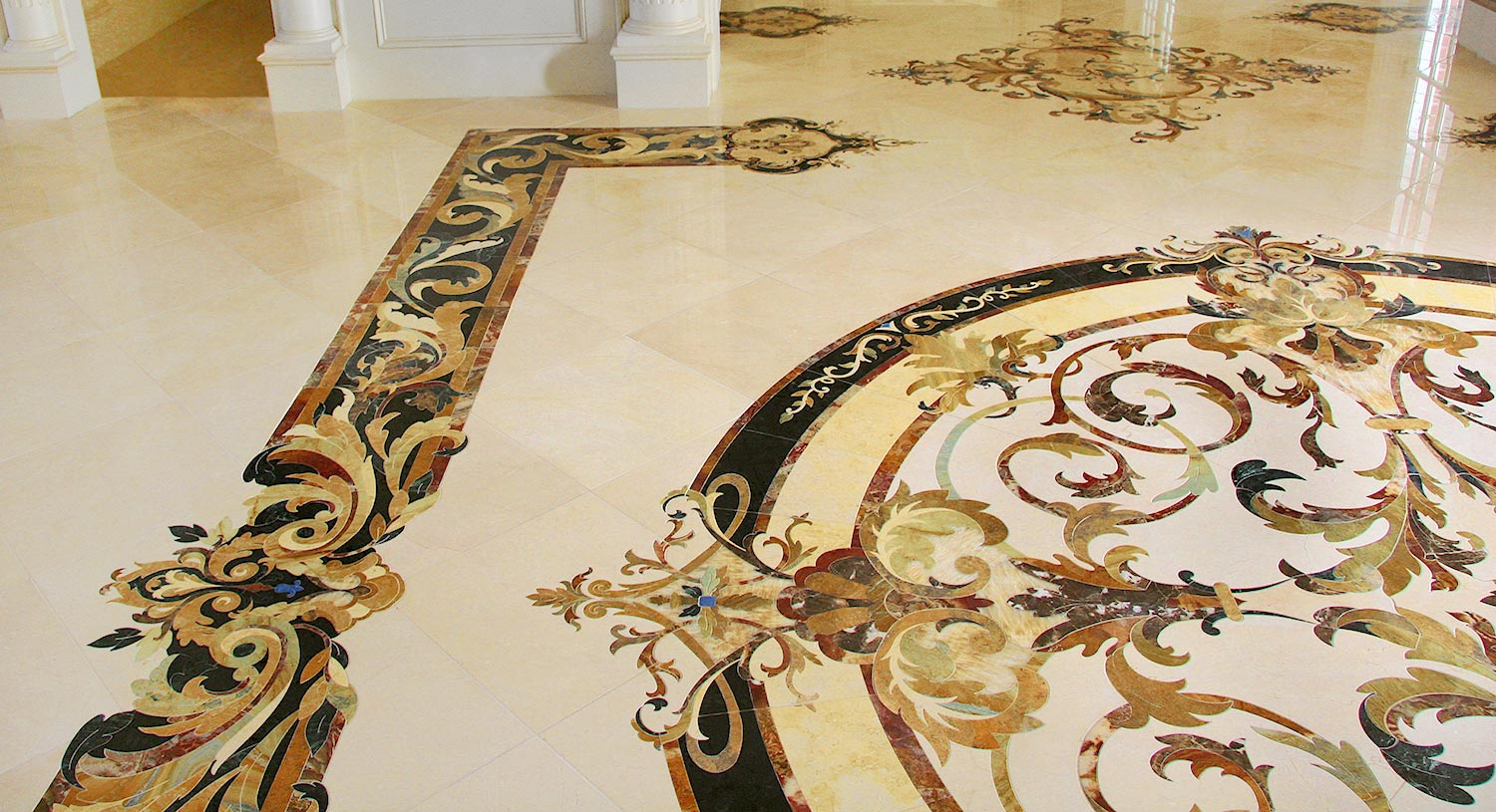 marble medallion borders design from capri collection
