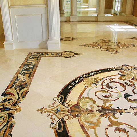 marble borders and accents for foyer from capri collection