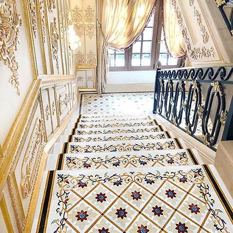 marble inlay pattered staircase