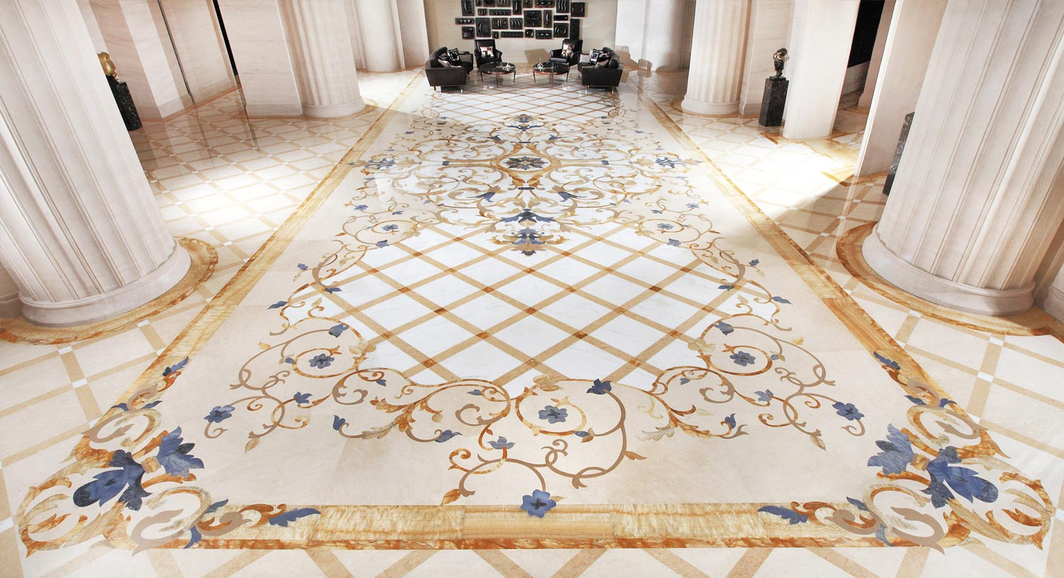 blue gold and calacatta luxury marble foyer floor design