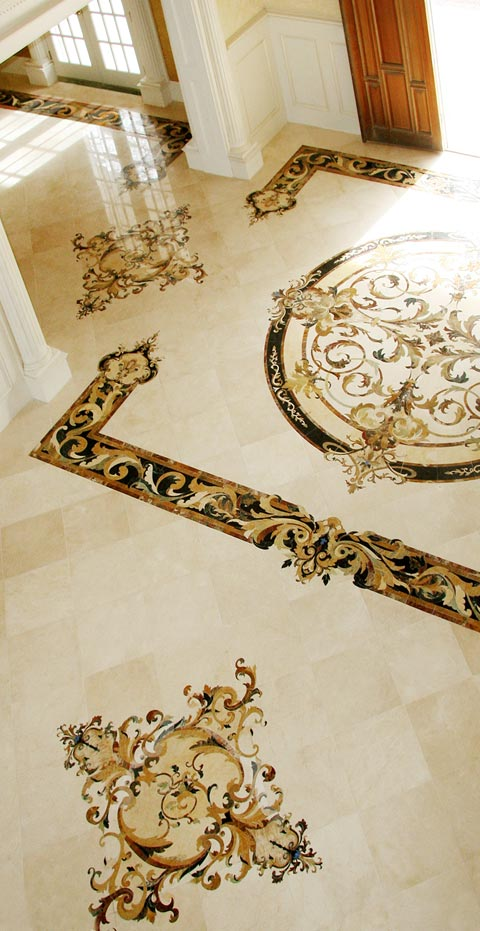 mosaic medallion whole floor design