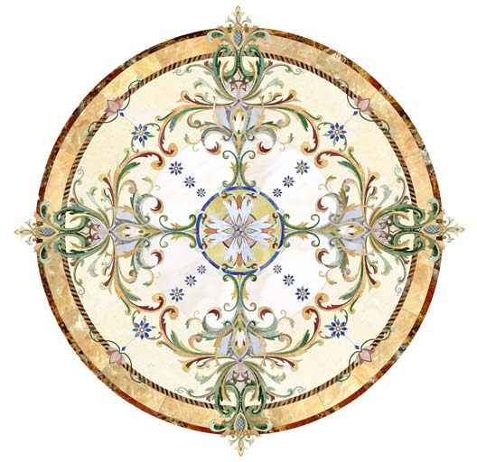 custom floral colorful marble inlay floor medallion
