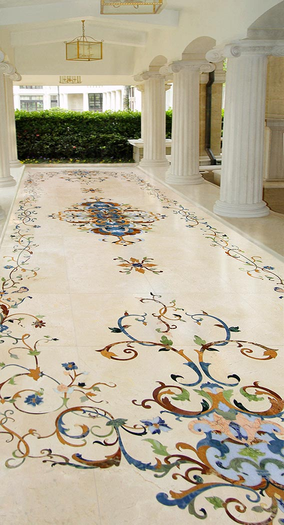 outdoor marble design walkway detail from chateau collection