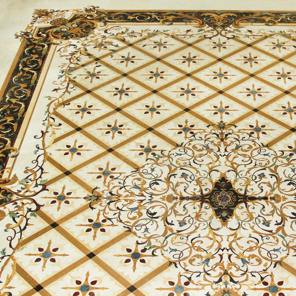 detailed marble rug pattern floor design form the palazzo collection