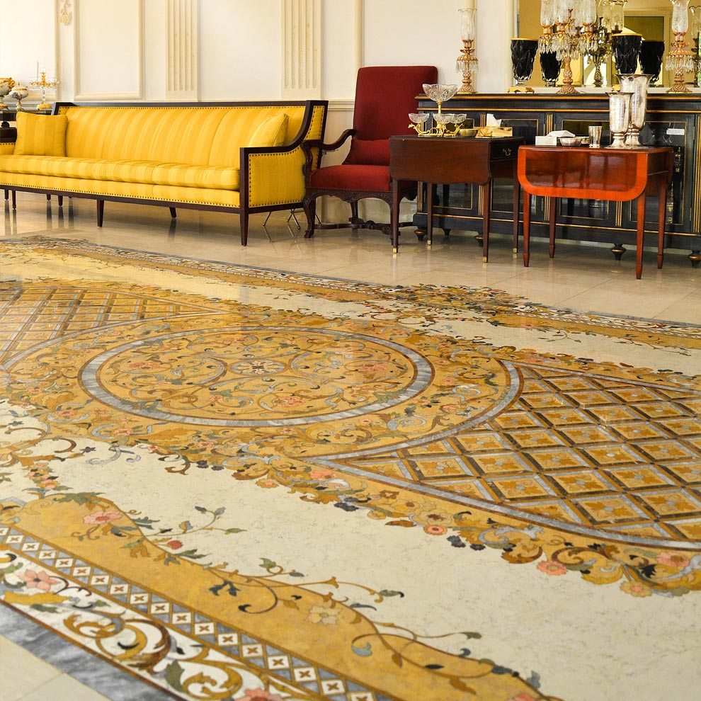 luxury marble water-jet inlay ballroom floor