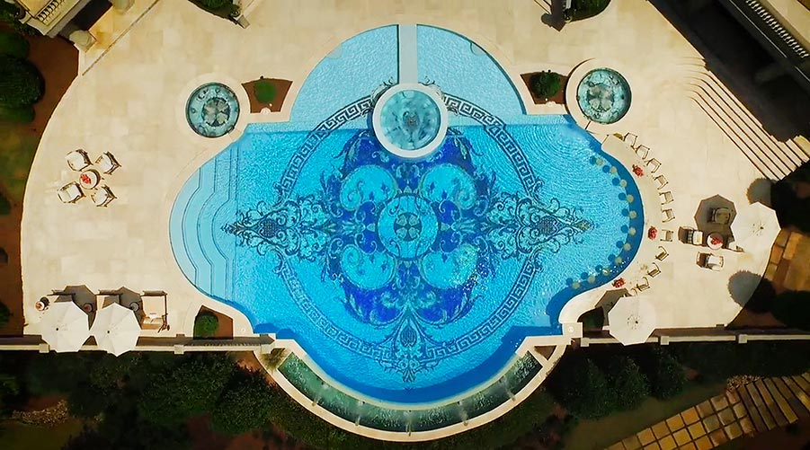 porcelain inlay luxury pool medallion design