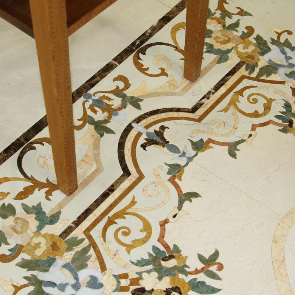 ornate floral marble mosaic medallion