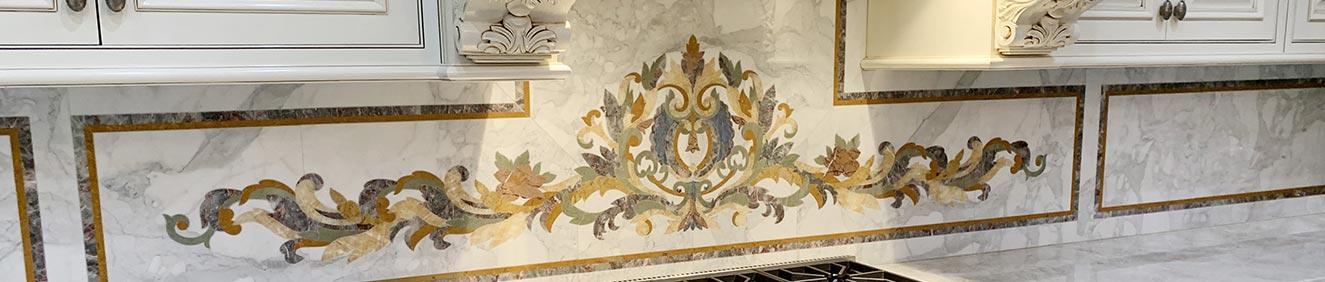 rinaldi marble inlay backsplash custom