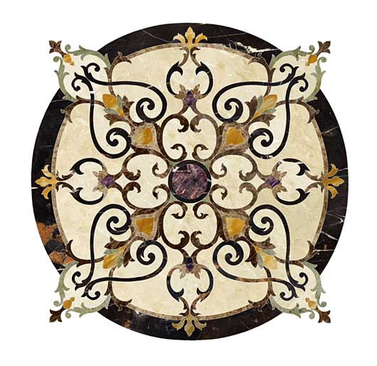 wrought iron inspired marble floor medallion