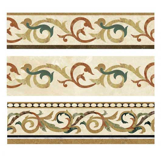 3 scroll collection marble floor borders