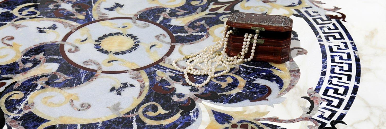 sodalite calacatta marble floor medallion close-up