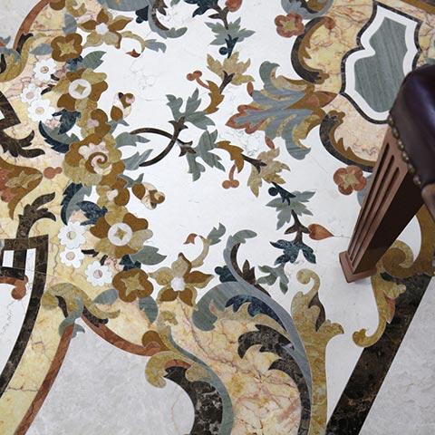 detailed floral marble design
