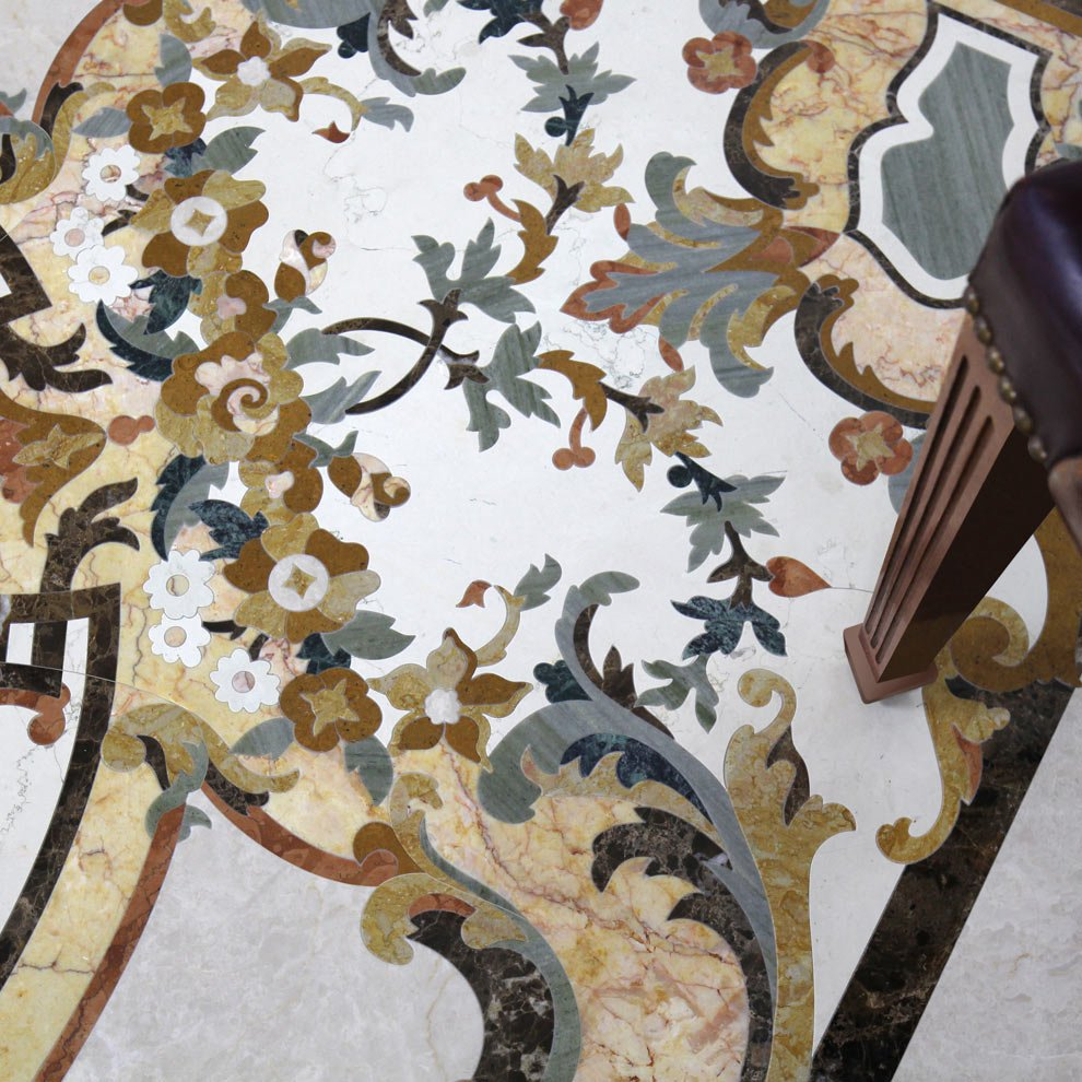 venetian detailed floral marble mosaic design