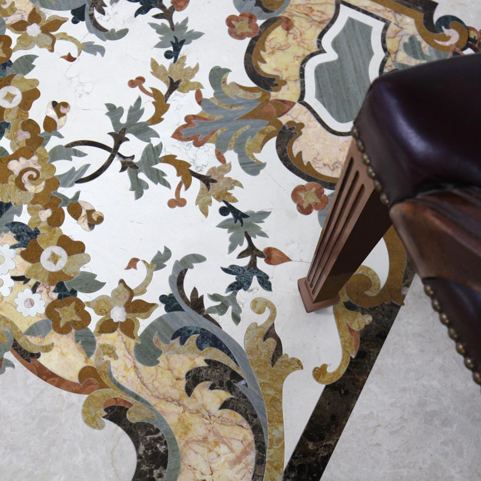 floral marble inlay design from the venetian collection
